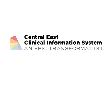 Rainbow logo with central east clinical information system text written