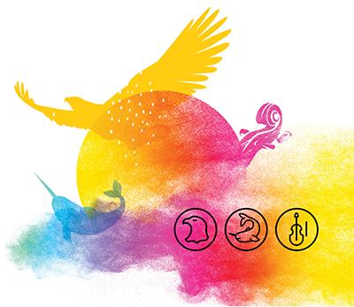 Among the various visual elements illustrating Indigenous cultures, the sun (the summer solstice) is at the center which is at the heart of the festivities. The First Nations, Inuit and Métis as well as the four elements of nature (earth, water, fire and air) are represented in the image and shown opposite. The whole visual is supported by a multicolored smoke* reminding us of Indigenous spirituality but also the colors of the rainbow - symbol of inclusion and diversity of all First Nations, Inuit and Métis communities and their members.