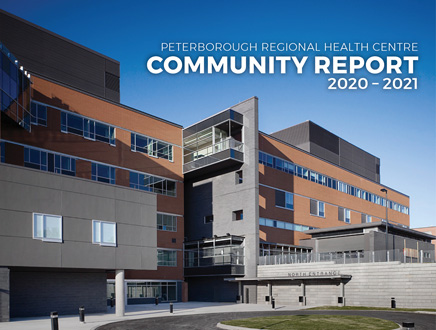 cover page of community report - outdoor view of hospital